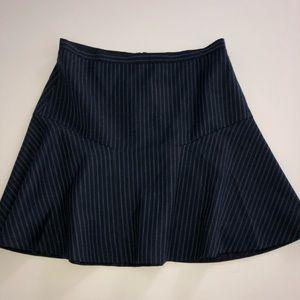 J crew Navy stripe a line wool skirt 8